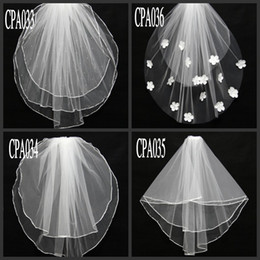 short veil styles 2019 - Short Real Image Wedding Veils 2 Layer Beaded Flowers White Ivory Tulle Bridal Veils In Stock Bridal Accessories Differe