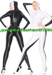 White Catsuit Halloween Pas Cher-Sexy Noir / Blanc Lycra Spandex Costume Catsuit Costumes Avec Visage Ouvert Unisexe Sexy Body Costumes Halloween Fantaisie Robe Cosplay Costume P036