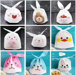 biscuit snack bags 2018 - Cute Rabbit Cookie Baking Bake Biscuit Candy Treat snack Favor Pouch Bag 50pcs lot cheap biscuit snack bags