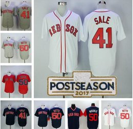 00ccdebf5 ... Boston Red Sox 41 Chris Sale 50 Mookie Betts nickname Jersey Gray white  navy blue Stitched .