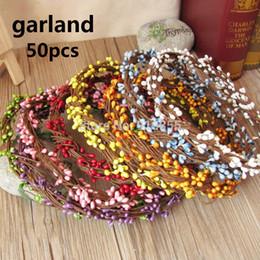 PiP beads wholesale online shopping - Artificial Flower Head Ring DIY Wedding Garland Pip Berry Flower Stamen Wreath Simulation Flower Bead Material for Wedding Deco