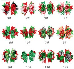 Discount bow clip designs - 12 designs Christmas baby girls hair clips ribbon bow hairpins X-mas zebra striped dots snow flowers children kids barre