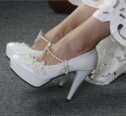 $enCountryForm.capitalKeyWord NZ - Free shipping new fashion Princess White Pearl Lace Little Flower Bridal Wedding Shoe prom shoes Heel Strapped
