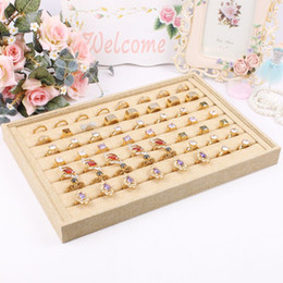 Show Display Case Canada - 2015 New style wholesale Organizer Show Case Jewelry Display Rings Holder Box New linen Ring Storage Ear Pin Display Box