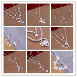charm pendants cheap 2019 - Fashion Hot sale new style Mix 9pcs Lot pretty cute cheap jewelry Lovely 925 sterling Silver different Necklace Beautifu