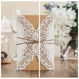 Top Sale Laser Cut Wedding Invitations Cards Hollow Personal Customized Suppliers Beaded For Bridal