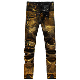 $enCountryForm.capitalKeyWord Canada - Gold Color printing 2016 Men's Fashion Jeans Heavyweight Painting Close-fitting Zip Long Pants Slim Pencil Jean Male Jeans 28-38