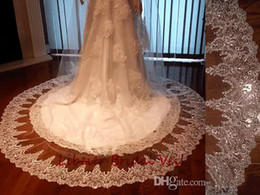 Barato Elegante Véu De Noiva Com Cercadura-2017 New Arrival Modern Elegant Ivory Bridal Veils Long One-Layer Lace Appliqued Beaded Sequined Edge Chaple Vestido de casamento Veils YV-5