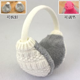 white ear muffs Australia - Wholesale-2015 new Winter Ear Warmers Women Knitting Wool Cover Earmuffs Solid Fashion Muffs Washable.D79D3