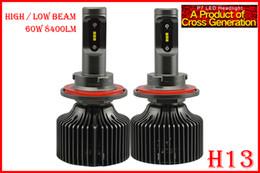 Xenon Beams Headlights Canada - 1 Set H13 9008 60W 8400LM P7 Auto LED Headlight Kit System Fanless ALL IN ONE Korea CSP LED 12 24V Xenon White 6000K High Power Hi Low Beam