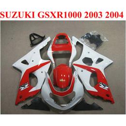 Motobike Kits Australia - ABS motobike set for SUZUKI GSXR 1000 K3 k4 2003 2004 fairing kit GSXR1000 03 04 red white custom fairings CQ64