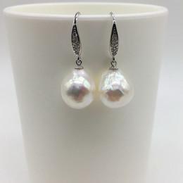 Großhandel Natürliche Form Perle kleine Haken Ohrringe Ohrringe Form weiß natürliche Süßwasserperle 925 Sterling Silber Silber