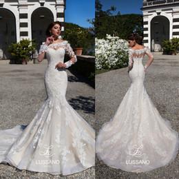 Chinese  2018 Mermaid Lace Wedding Dresses Sheer Long Sleeves Appliqued Scoop Neckline Long Train Vintage Bridal Gowns Vestidos de novia manufacturers