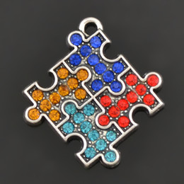 $enCountryForm.capitalKeyWord NZ - 50pcs Fashion Autism Charm Vintage Silver Fine Jewelry 4 Color Crystal Puzzle Piece Statement Charms For Necklace & Pendants