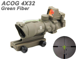 trijicon acog scopes NZ - NEW Trijicon ACOG 4x32 Real Fiber Source Green Illuminated Rifle Tactical Hunting Scope With RMR Mini Red Dot Sight Dark Earth