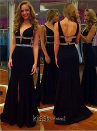 Ceinture En Satin Noir Satiné Pas Cher-2016 Sexy Black sirène robes de soirée V Neck Crystal Beaded ceinture Open Back avant Split Sweep Train robes formelles 2015 Prom Dress