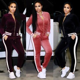 $enCountryForm.capitalKeyWord Canada - Woman Winter Autumn Casual Velvet Two-piece Outfits Long Sleeved Jacket + Long Pant Women Fall Velour Sweatsuits Tracksuit Sport Joggers Set