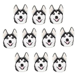 $enCountryForm.capitalKeyWord UK - 10PCS Huskie Dogs Iron on Transfer Applique Patch for Clothing Bags Embroidery Patches for Garment Jeans DIY Sew on Embroidery Badge