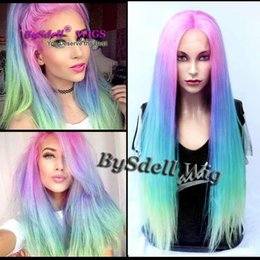 rainbow pastel hair NZ - Premium Sexy Beauty Lady Pastel Pink Blue Purple Green Colorful Rainbow Hair FRONT LACE wig Synthetic Anime Cosplay Lace front Wigs