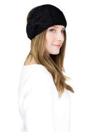 Chinese  Womens Ladies Winter Warm Crochet Bowknot Headbands Head Wrap Beanies hair accessories headwear Turban Bandanas Hats WHA34 manufacturers
