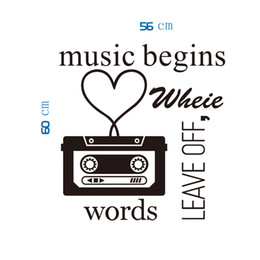 $enCountryForm.capitalKeyWord NZ - Classic Black Music Player Wall Art Mural Decor Words Leave Off Music Begins Quote Wallpaper Decoration Sticker Home Art Decal Decor