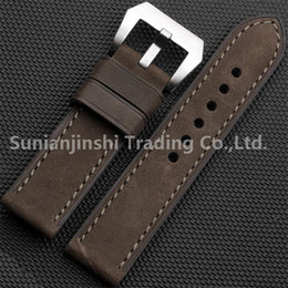 26mm watch buckle Australia - Handmade 20 22 24 26mm Green Vintage Men Dull Polish Leather Watchband Strap+Stainless Buckle Watch Bracelet For Panerai Free Shipping-131