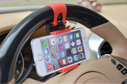 Bike Cradle Canada - Free DHL Universal Car Steering Wheel Cradle Cellphone Holder Clip Car Bike Mount Stand Flexible Phone Holder extend to 86mm for iphon6 plus