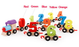 toddlers puzzles Australia - Children Toddlers Digital Small Wooden Train 0-9 Number Figures Railway Model Wooden Train Kids Assembly Puzzle Toys+Box
