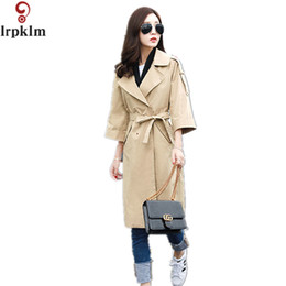 Barato Senhoras Trench Coat Xxl-Mulheres Verão Outono Trench Coat 2017 Fashion Office Ladies Khaki Sashes Long Trench Coat Mulheres Long Trench Coat M-XXL LZ199