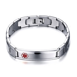 $enCountryForm.capitalKeyWord Canada - Stainless Steel Mens Medical ID Bracelet Gift for Him Fathers Day Valentines Day Engraved Personalized Medical Alert ID Bracelet