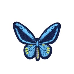 Barato Borboletas Apliques-10PCS Blue Butterfly Parches para Vestuário Bags Iron on Transfer Applique Patch para Jeans Sew on Borded Patch DIY