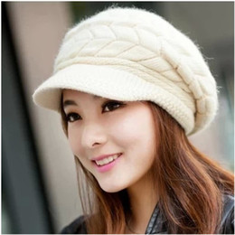 Chinese  Winter hats han edition tide female cute knitted hat Rabbit fur cap qiu dong the day ladies fashion hat manufacturers