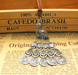 $enCountryForm.capitalKeyWord Australia - 2020 Vintage Tibetan Silver peacock Phoenix Tassels Pendant Necklaces long Sweater chain hollow Leather Rope Stylish Handmade 12pcs
