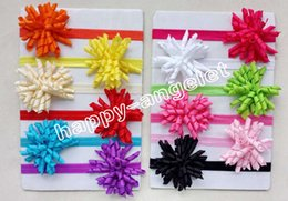 hair corkers NZ - Girl Boutique Solid Korker curly Ribbon Hair clips bows Elastic Iridescent headband baby corker hair bands Christening hair ties 50pcs PD01