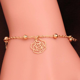 $enCountryForm.capitalKeyWord NZ - Newest Design 18K Gold Filled Anklets Fashion Women Flower FOOT CHAIN golden color bracelet Party Gift Bangle Jewelry