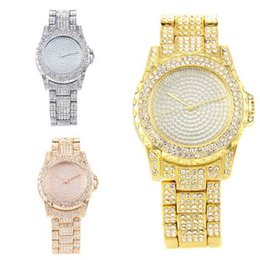 glasses electronic UK - Luxury Golden Silver Rose Gold Alloy Full Rhinestone Electronic Watch Fashion Casual Steel Belt Watch Ladies Wristwatches
