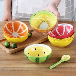 Pottery handmade online shopping - Handmade Ceramic Bowl Hand Painted Fruit Watermelon Rice Bowl Soup Ceramic Bowl