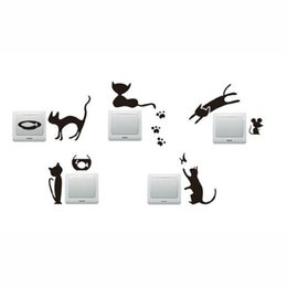 wholesale stickers animals UK - Cat Paw Prints Mouse Switch Sticker DIY Socket Wall Stickers Home Decor Bedroom Vinilos Decorativos Wall Decal