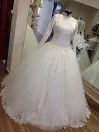 High Collar Ball Wedding Dress Canada - Luxury High Collar Wedding Dresses for Muslim Women Long Sleeves Ball Gown Dubai Bridal Wedding Gowns Arabic Vestidos de Novia