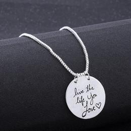 Discount pendant couples wholesale love letter - Live The Life You Love Reversible Pendant Choker Necklace Alloy Fashion Alphabet Retro Clavicle Chain Pendant Couple let