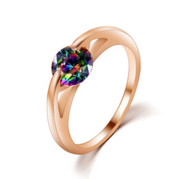 Wedding ring red gemstone online shopping - Wedding Rings Woman Engagement Ring K Gold Plated Cubic Zirconia Purple Red Crystal Anillos Mujer Bijoux Engagement Women Gemstone Rings
