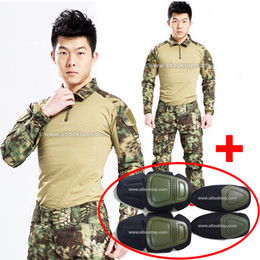 pullover military Australia - Cs go men military uniform clothing army multicam combat shirt + tactical pants + knee pads highlander camo camouflage fatigues woodland