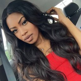 Big Black Wigs Canada - Brazilian Hair Big Wavy Virgin Unprocessed Human Hair Wigs for Black Women Middle Part Lace Front Wigs Bellahair Natural Color