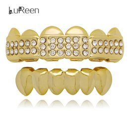 $enCountryForm.capitalKeyWord Canada - LuReen Silver 14K Gold CZ Rhinestone 6 Top and bottom Teeth Grillz Set Vampire Fangs Teeth Punk Jewelry