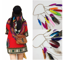 Discount folk hair - Western Bohemia peacock feather hair band, hippie folk style hair, Indian fringe headdress, there are three kinds of col
