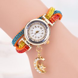 Discount moon watch women - women's beautiful summer rhinestone moon and star pandant colorful Weave Wrap Leather Bracelet watch women dress wa