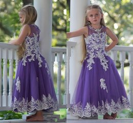 Robe De Soirée Pas Cher-Real Picture Purple Yellow Girls Robes de fête de mariage 2016 Jewel Lace Applique Long Flower Girls Dress First Communion Pageant Gowns Cheap