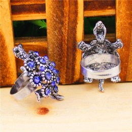 Assorted Wholesale Rings Canada - Wholesale Lot 5pcs Vintage Look Antique Silver Plated Adjustable Assorted Turtle Family Crystal Rings TR137 Rings