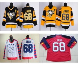 2016 new cheap florida panthers jerseys 68 jaromir jagr hockey jersey team color red embroidery and sewing logos black yellow jersey