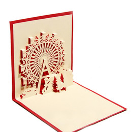 100pcs Handmade Chinese Kirigami Origami 3D POP Up Greeting Cards With Sky Wheel Design Birthday Gift Envelope